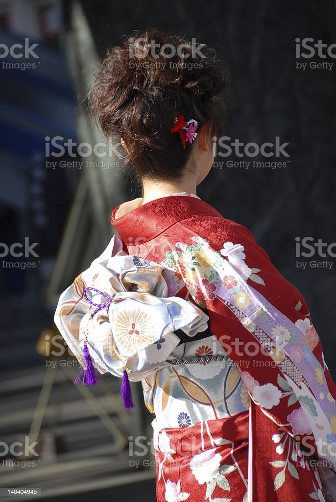 young woman in kimono stock photo