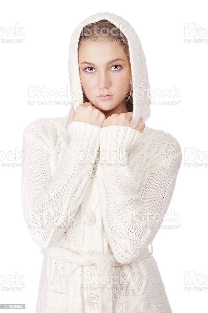 Young woman in knitted woolen sweater royalty-free stock photo