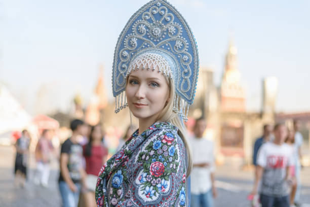 Young woman in kokoshnik. stock photo