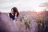 Young woman in lavender