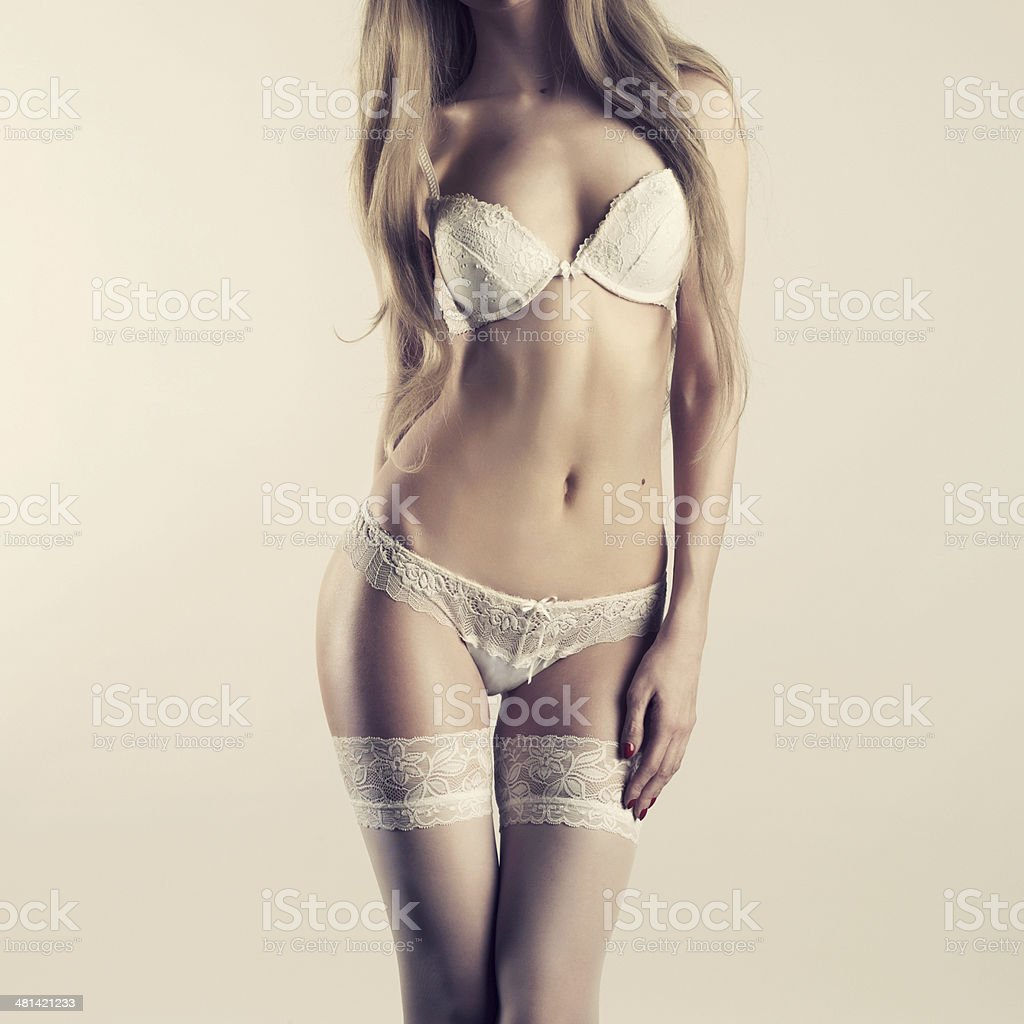Young woman in lingerie stock photo