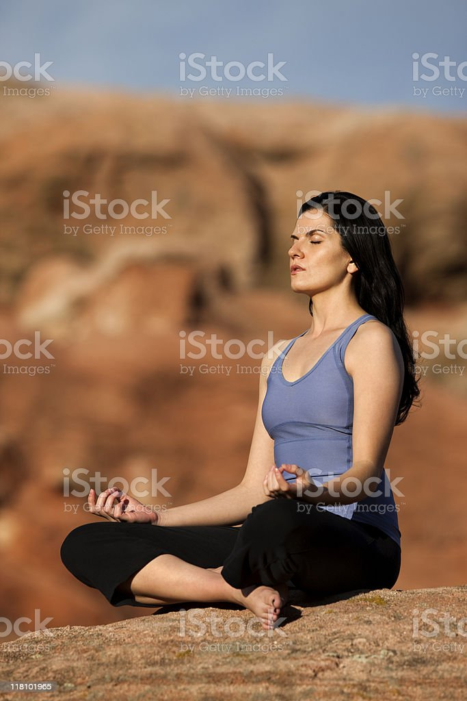 Young Woman  In Lotus Position - Eyes Closed royalty-free stock photo