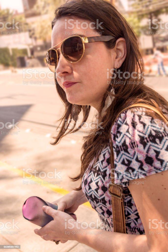 Young Woman in Mexico City stock photo