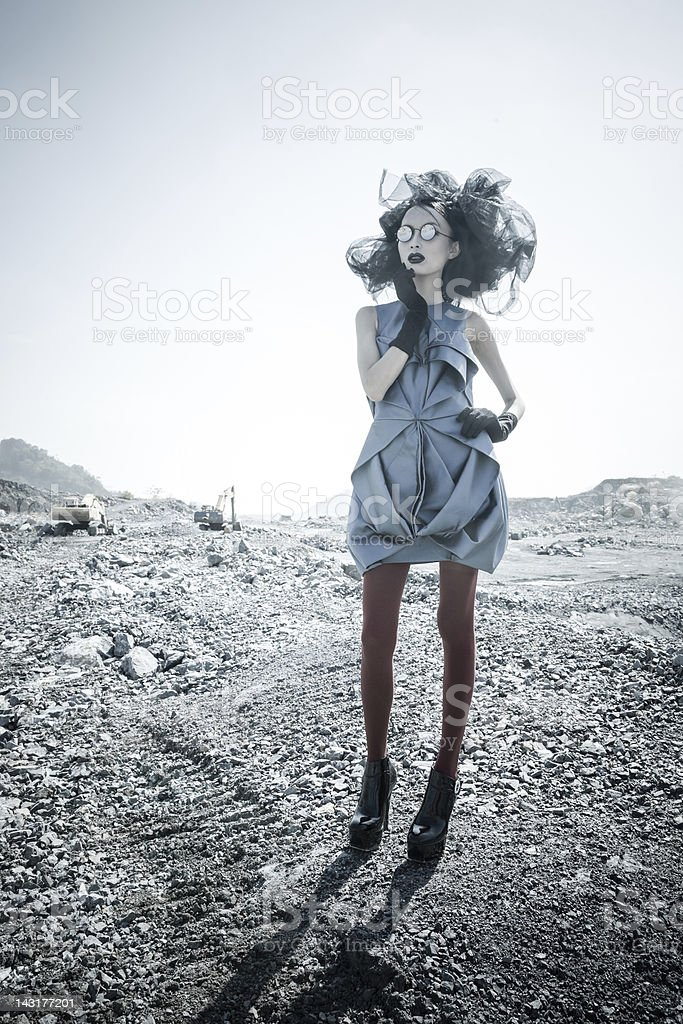 Young woman in moon space planets stock photo