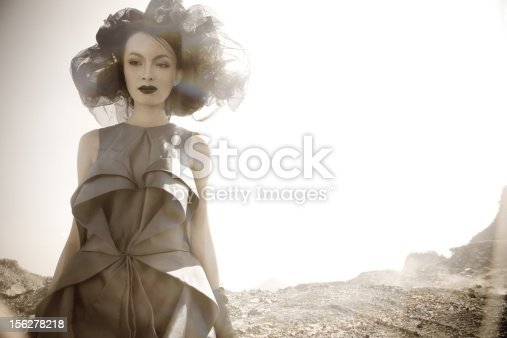 istock Young woman in moon space planets 156278218