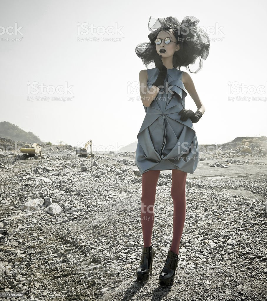 Young woman in moon space planets royalty-free stock photo