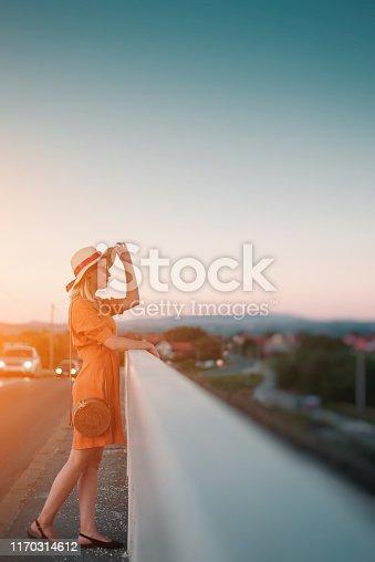 istock Young woman in orange dress on bridge 1170314612