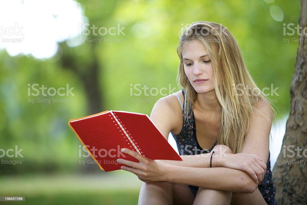 젊은 여자 독서모드. royalty-free 스톡 사진