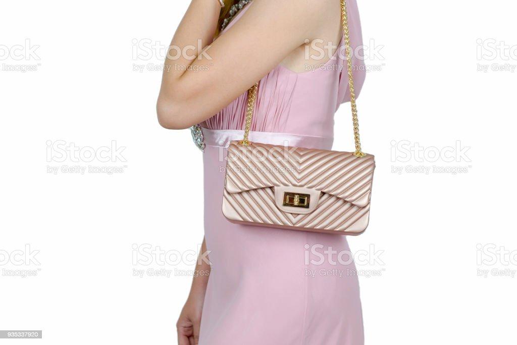 74991cd6ca8 Photo de stock de Jeune Femme En Robe Rose Femme Élégante Avec Rose ...