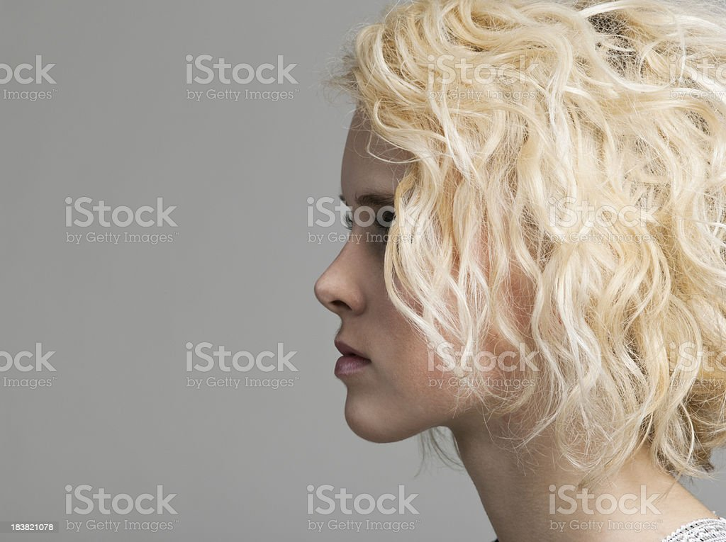 Young Woman in Profile stock photo