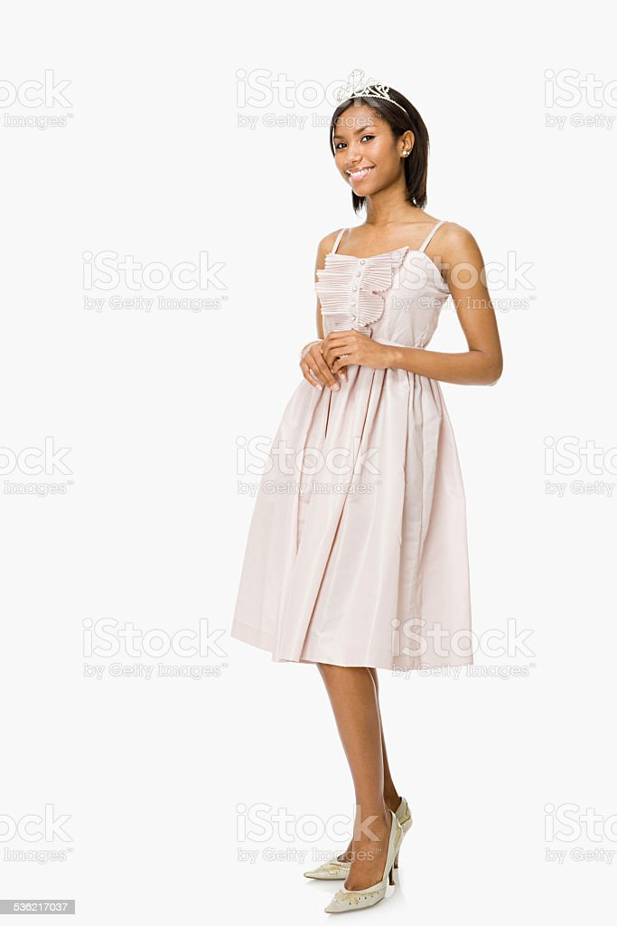 Young woman in prom dress stock photo