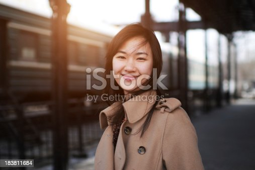 Young Woman in Railway Station