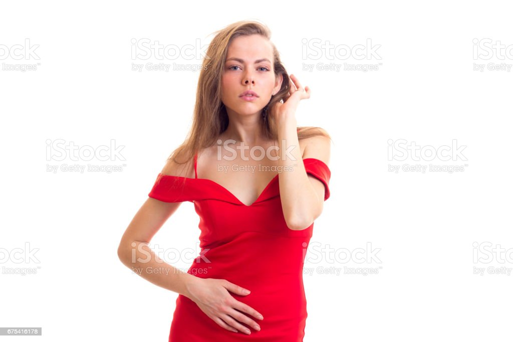 Young woman in red dress photo libre de droits