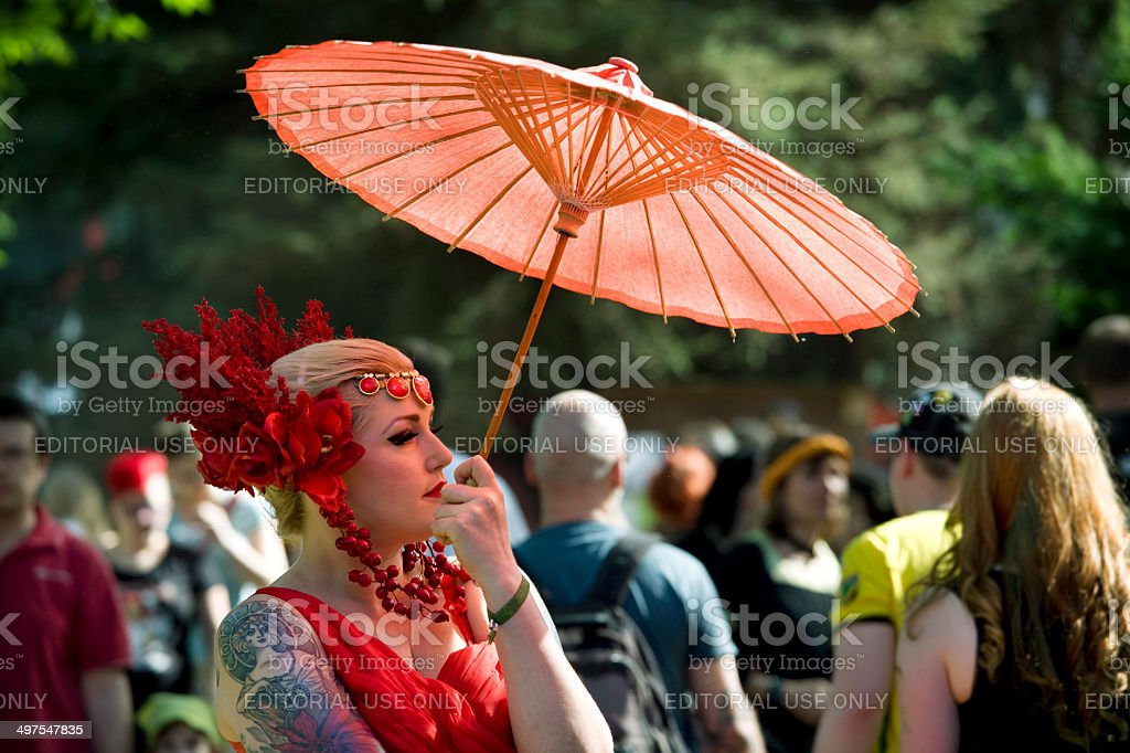 Young Woman In Red Fantasy Costume On Wgt Leipzig Stock Photo Download Image Now Istock