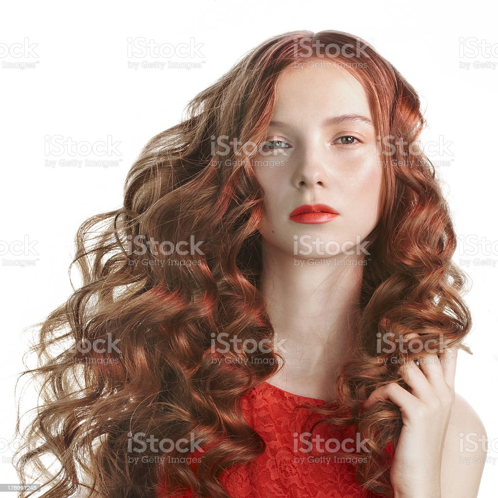 young woman in red stock photo