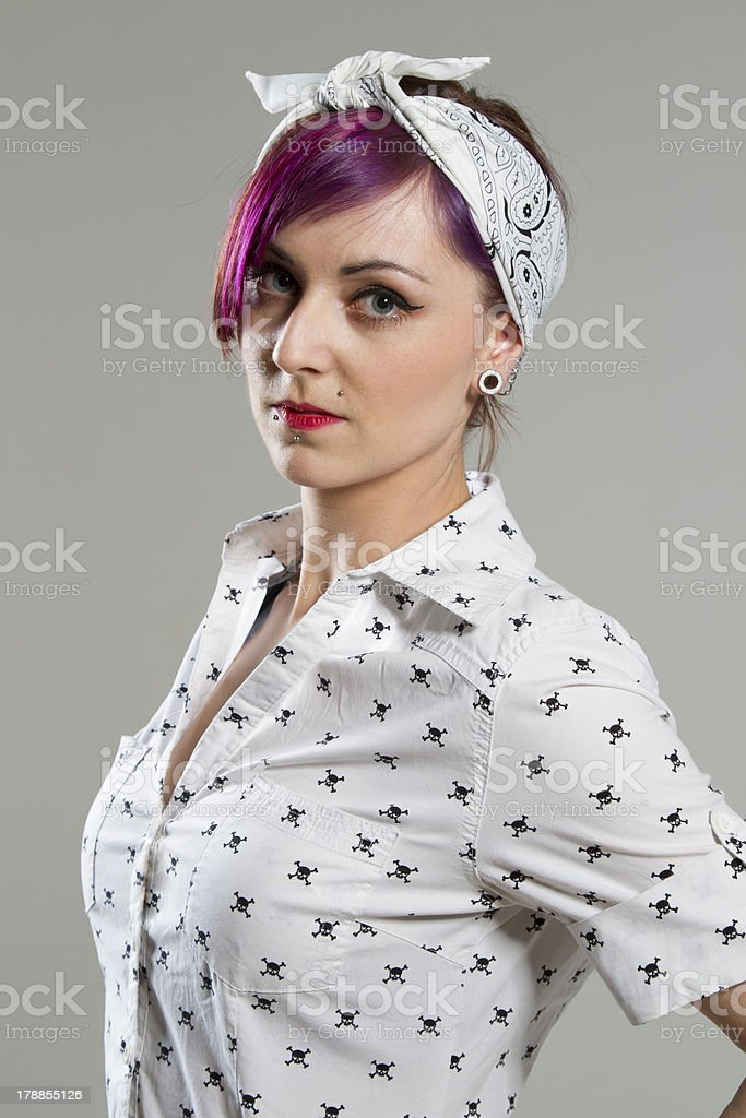 Young woman in Rockabilly Style royalty-free stock photo