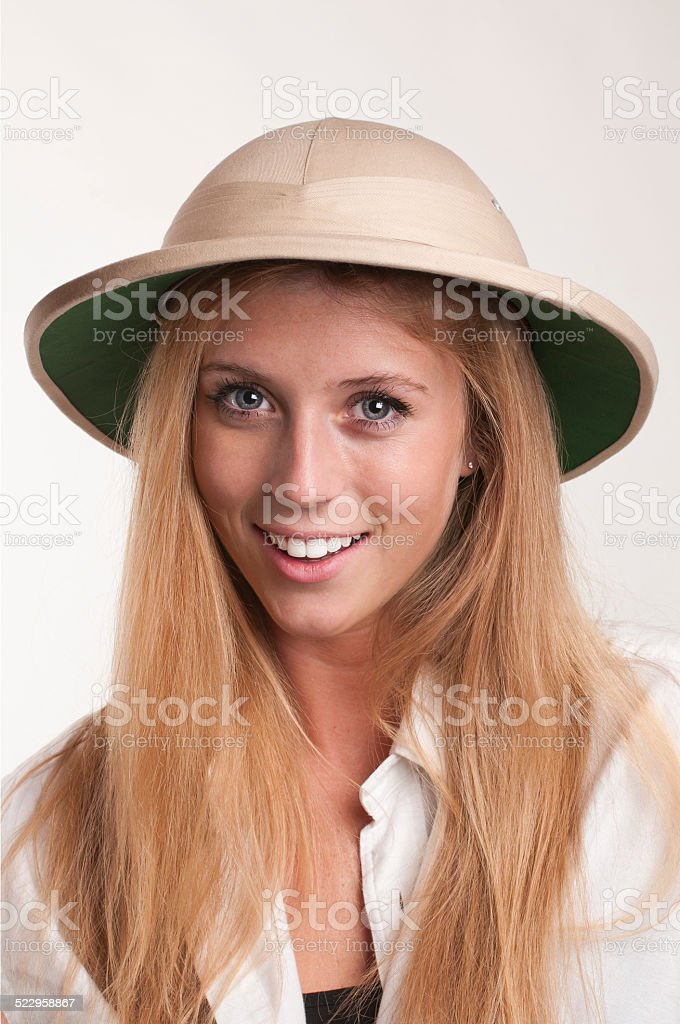 40ba93a33507c Young Woman In Safari Hat Stock Photo   More Pictures of 20-24 Years ...