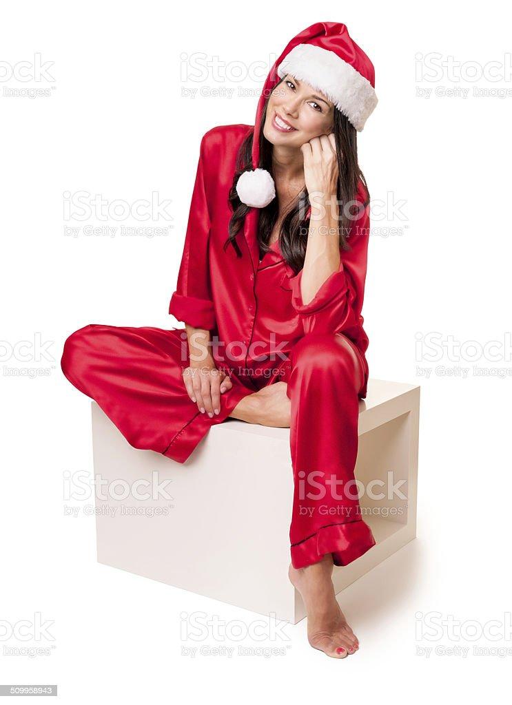 f15cf968ce Mujer Joven En Pijama Satinado Foto de stock y más banco de imágenes ...
