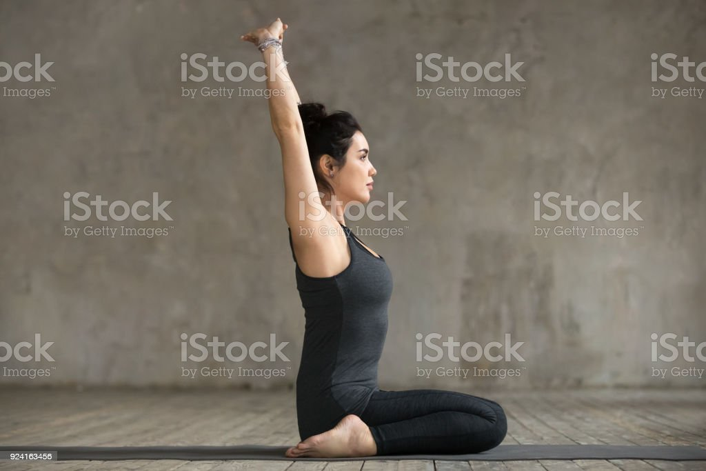 Young woman in seiza pose stock photo