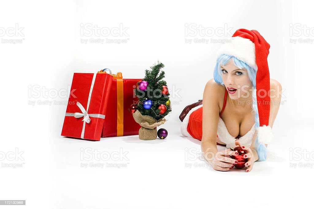 Young woman in sexy santa suit royalty-free stock photo