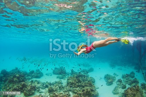 577645320 istock photo Young woman in snorkeling mask dive underwater with tropical fishes 1130509239