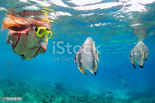 831127716 istock photo Young woman in snorkeling mask dive underwater with tropical fishes 1130509283