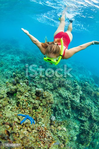 831127716 istock photo Young woman in snorkeling mask dive underwater with tropical fishes 1182466051