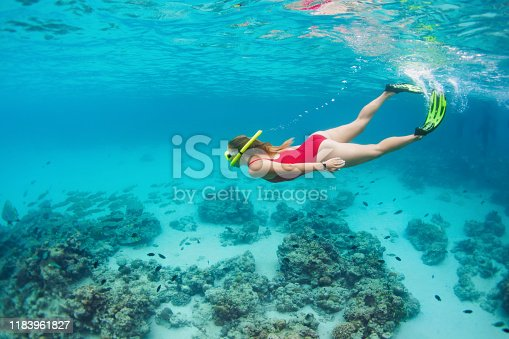 831127716 istock photo Young woman in snorkeling mask dive underwater with tropical fishes 1183961827