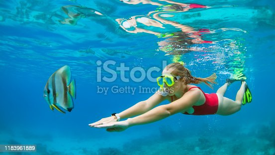 831127716 istock photo Young woman in snorkeling mask dive underwater with tropical fishes 1183961889