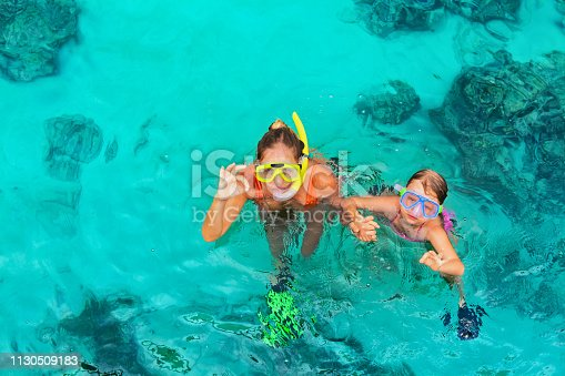 577645320 istock photo Young woman in snorkeling mask showing divers sign OK 1130509183