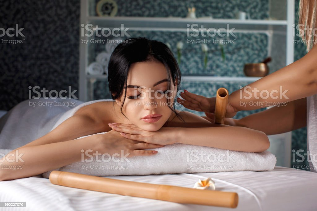 young woman in spa salon. stock photo