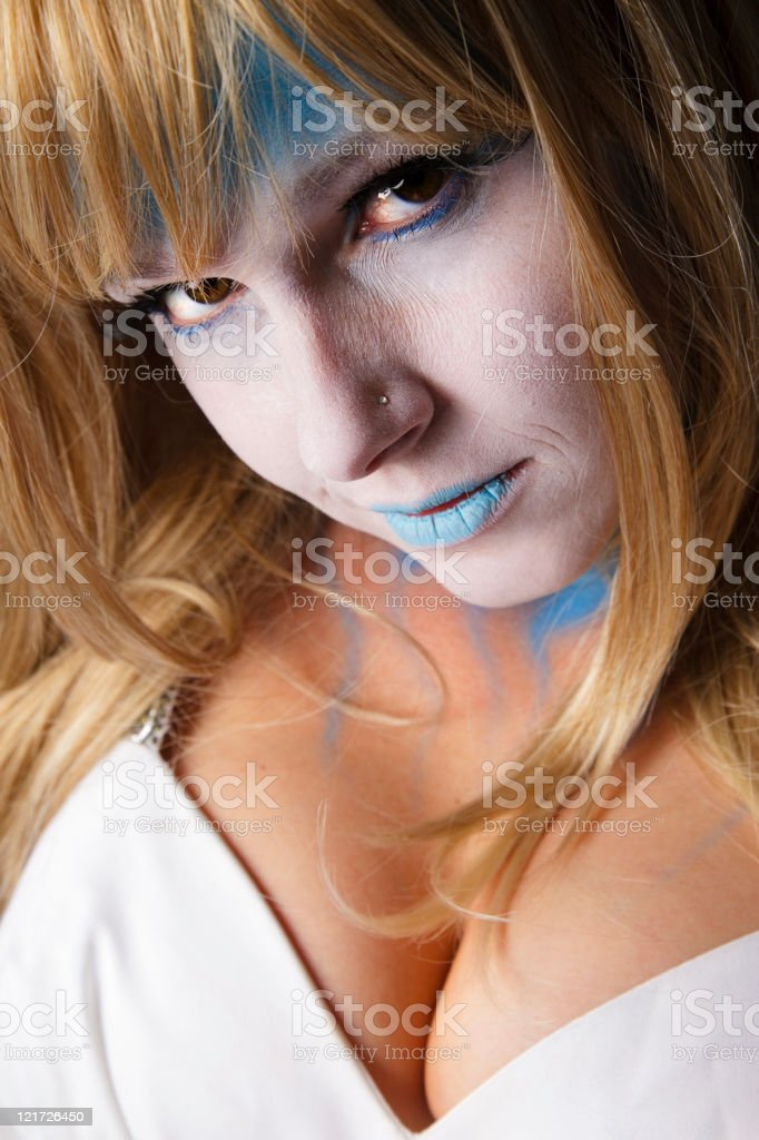 Young Woman in Stage Makeup stock photo