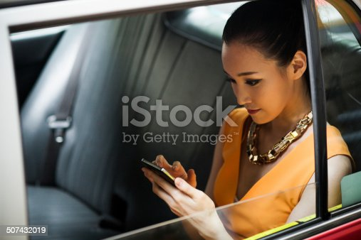 istock Young woman in taxi 507432019