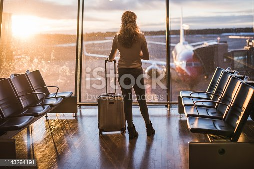 istock Young woman in the airport. 1143264191