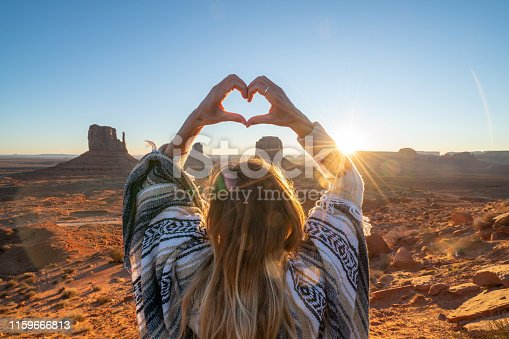 Woman loves USA, makes heart shape finger frame; Rear view of woman on rock at Monument Valley in USA. People travel America concept