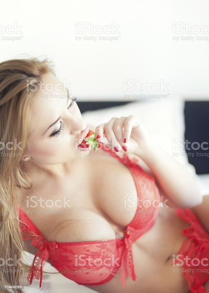 Young woman in the Bed royalty-free stock photo