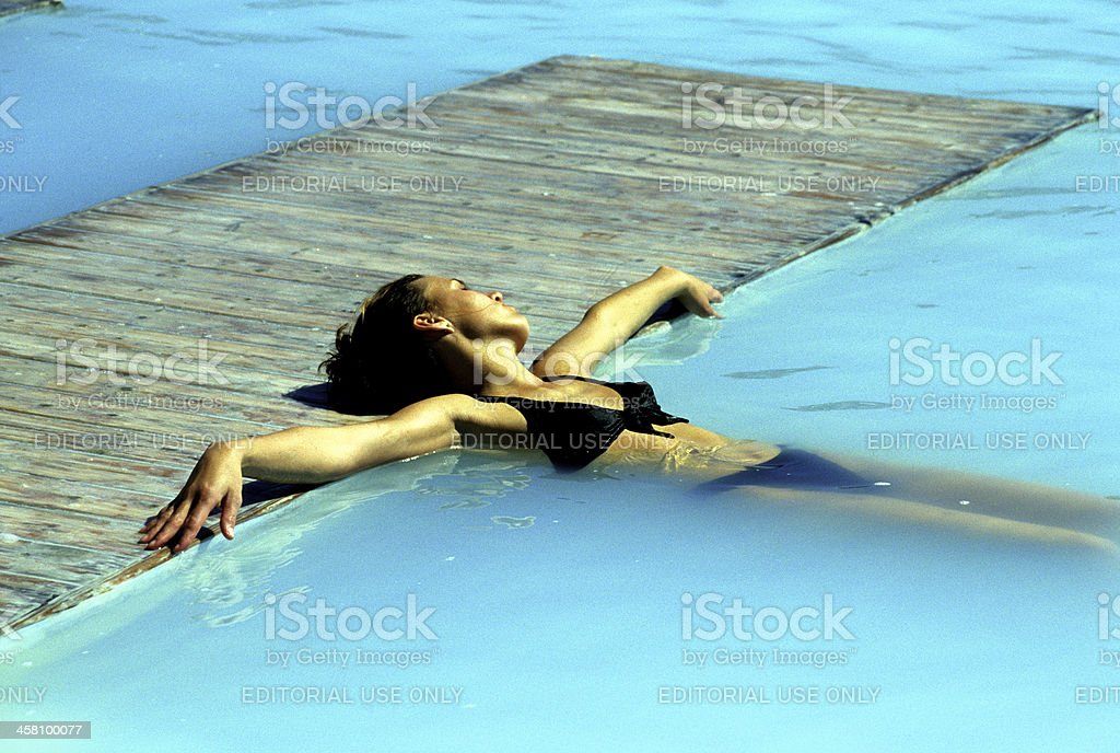 Young woman in the Blue Lagoon stock photo