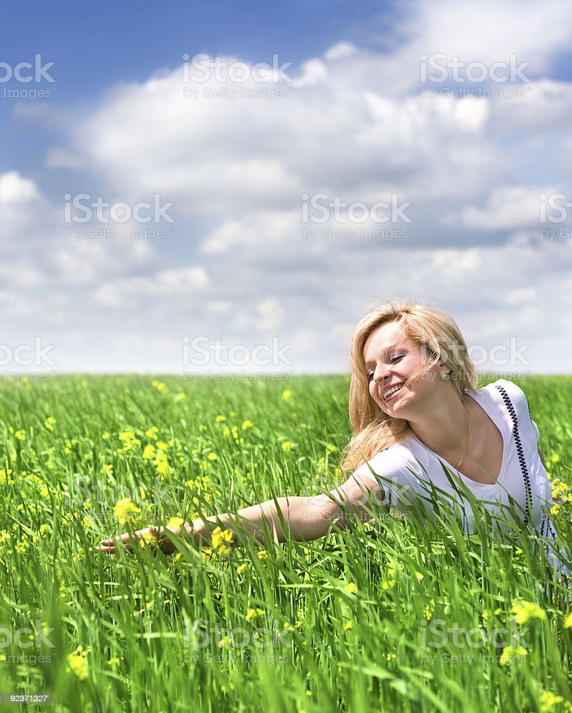 Young Woman In The Meadow royalty-free stock photo