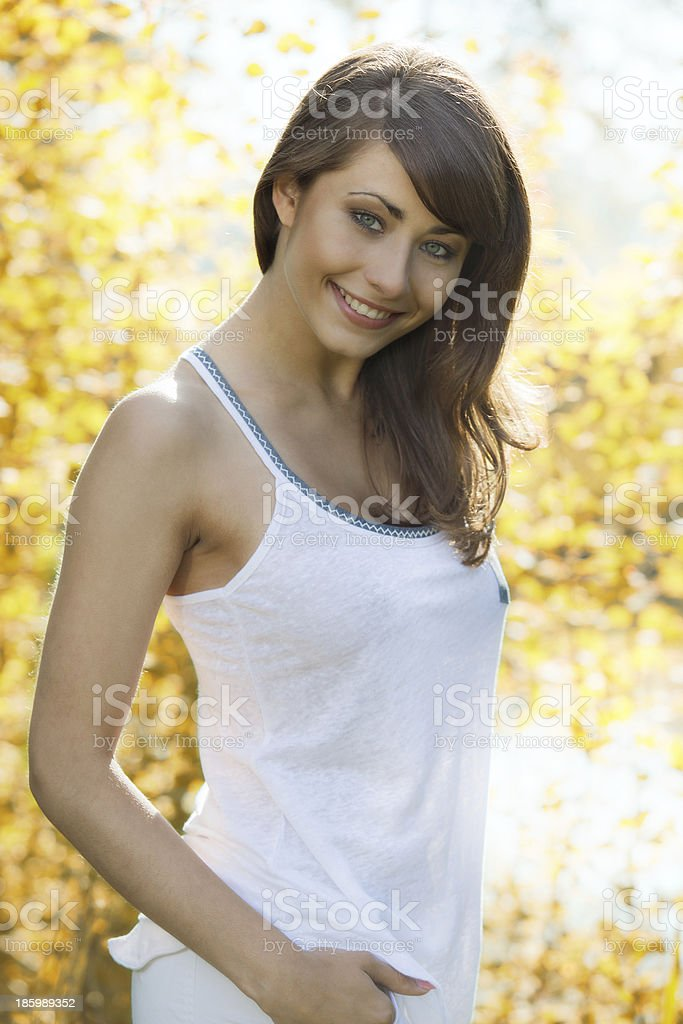 Young woman in the park stock photo