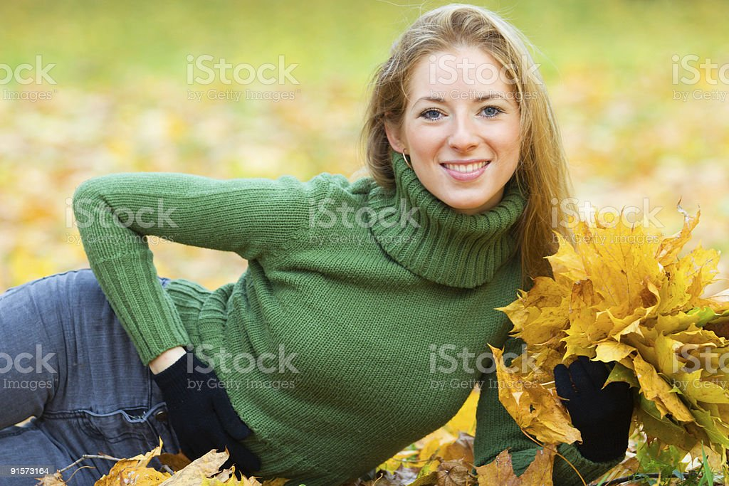 young woman in the park royalty-free stock photo