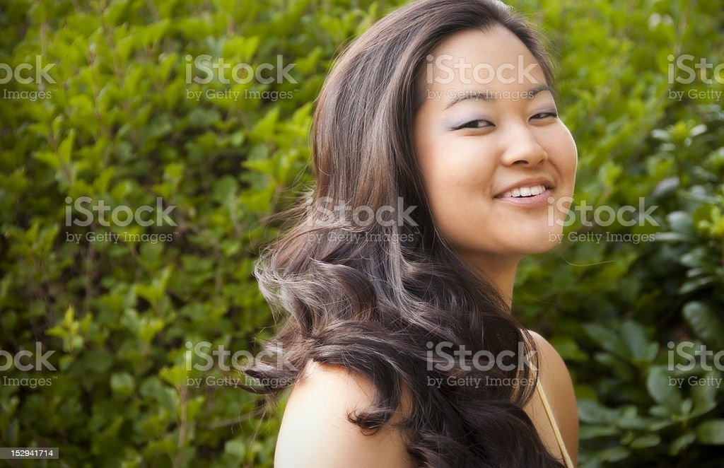 Young Woman in the Spring Sun stock photo