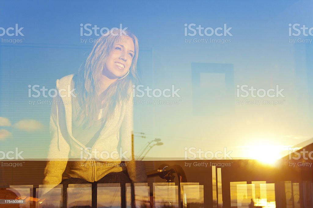 Young Woman In The Window stock photo