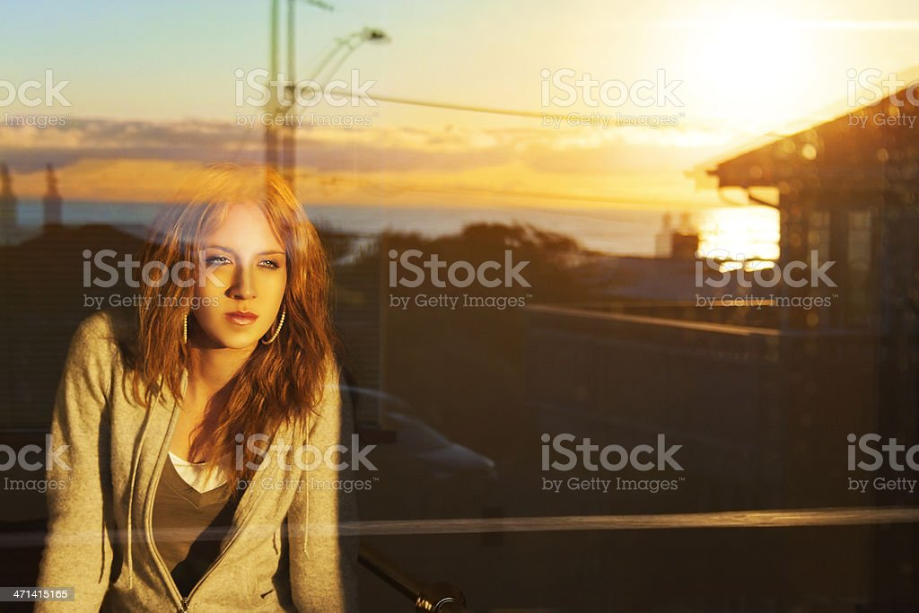 Young Woman In The Window royalty-free stock photo