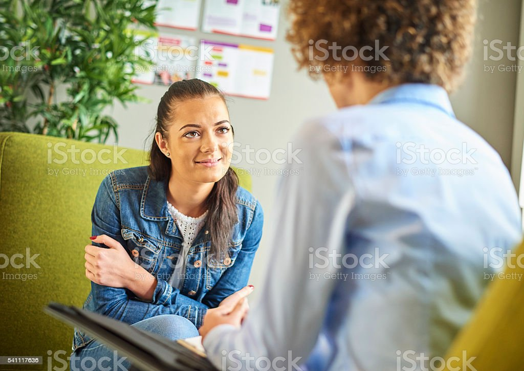 young woman in therapy stock photo