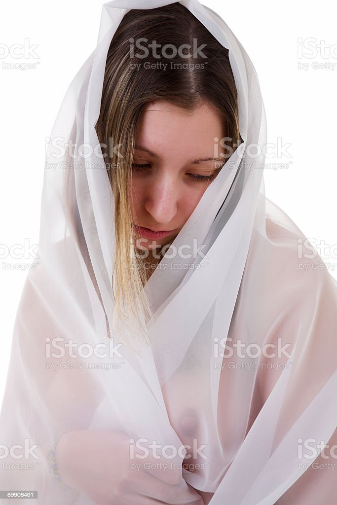 young woman in veil royalty free stockfoto