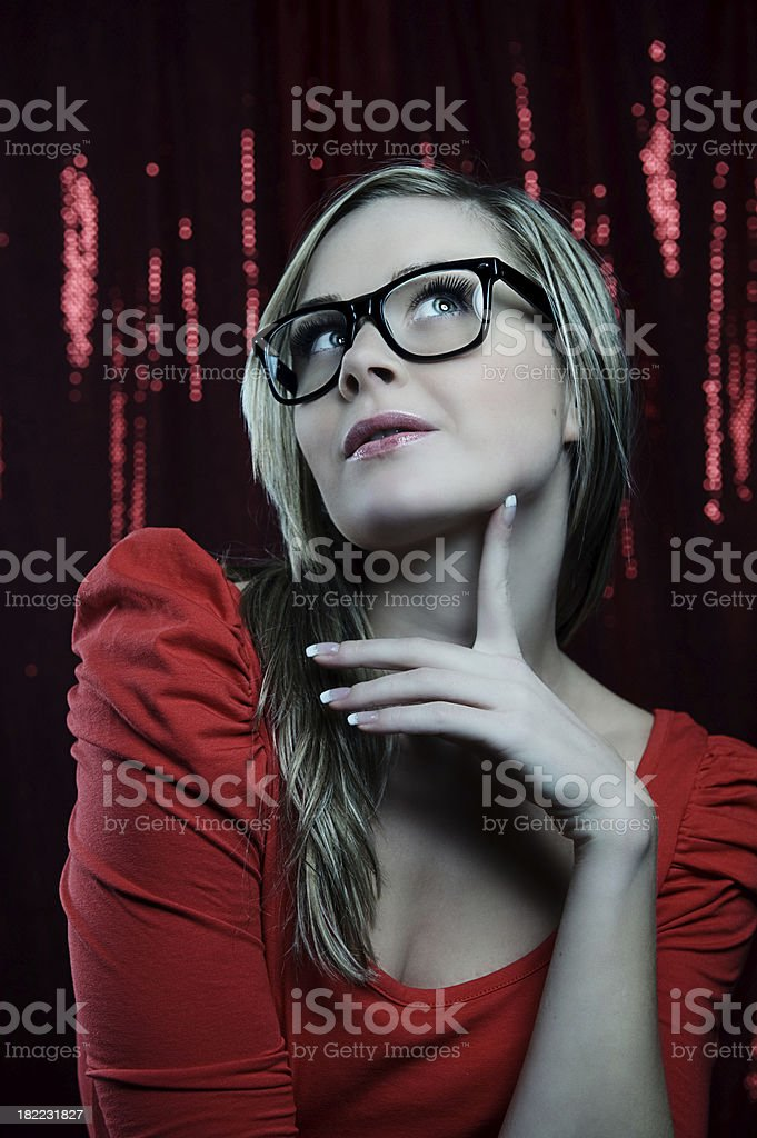 Young woman in wayfarer glasses royalty-free stock photo