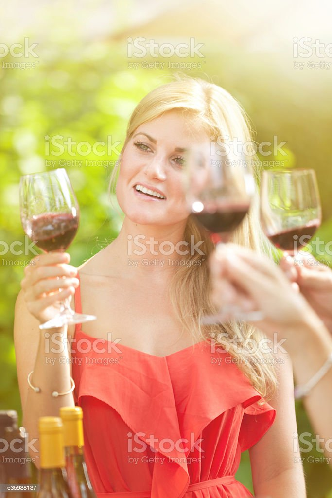 Young Woman in Wine Tasting stock photo