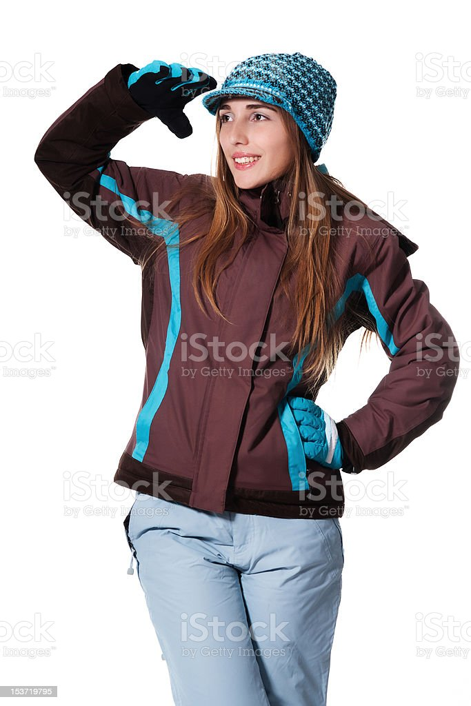 Young woman in winter outfit stock photo