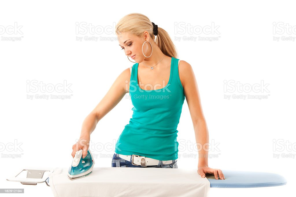 young woman ironing royalty-free stock photo