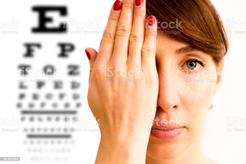 Young woman is covering his face with hand and checking his vision. Chart for eye sight testing in background. stock photo